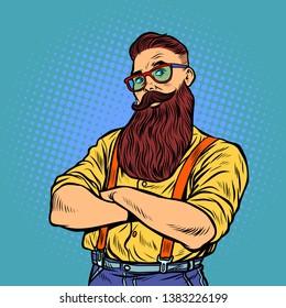 bearded hipster with glasses. Pop art retro vector illustration vintage kitsch 50s 60s
