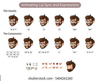 Bearded hipster man cartoon character design for animating lip sync and expressions, vector illustration.