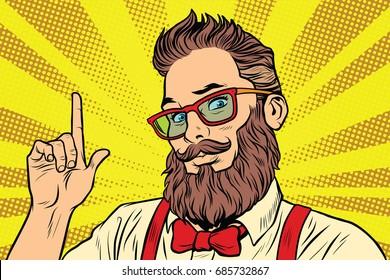 Bearded hipster man portrait pointing finger. Pop art retro vector illustration