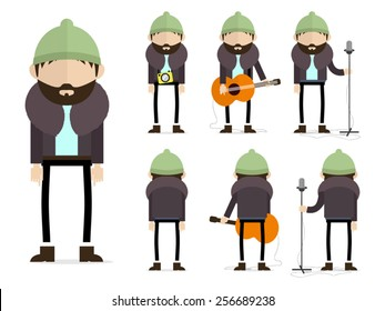 Bearded hipster musician with green hat