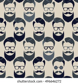 Bearded Hipster seamless pattern with glasses. Lumber sexual or Urban Lumberjack background.