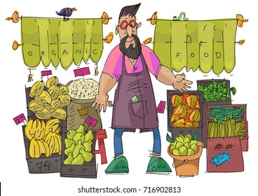 A bearded hipster vendor man near street organic food store full of vegetables and fruits in cardboard boxes. Cartoon.