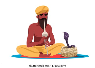 Bearded indian snake charmer isolated on white background. Snake cobra dance during musician playing on pipe flute. Man trainer wearing traditional turban and pants sitting in lotus position