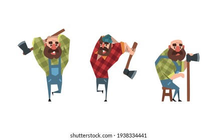Bearded Lumberjack Characters with Axe Set, Powerful Woodcutter Character at Work Cartoon Vector Illustration