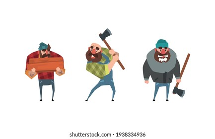 Bearded Lumberjack in Plaid Shirt Set, Powerful Woodcutter Character with Axe Cartoon Vector Illustration