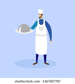 Bearded Male Chef Character Wearing Toque and Apron Holding in Hands Tray with Dish Under Silver Cloche Lid Isolated on Blue Background. Cooking Profession. Cartoon Flat Vector Illustration. Clip Art.