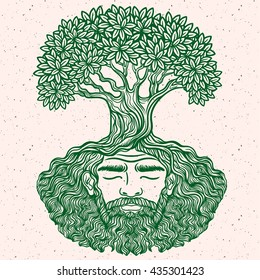 Bearded man. Allegorical tree spirit.Beard of the roots.For hipster tattoo, coloring for adults,eco design, protect the environment. Pattern, zentangle,line art. Boho chik, hippie. earth day card