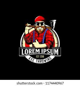bearded man with an axe cartoon vector for axe throwing logo
