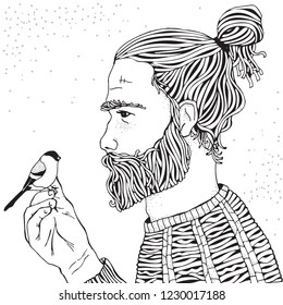 Bearded man and bird. Coloring book page for adult. Hand drawn hipster man with long beard. Black and white.  Line art.