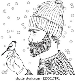 Bearded man and bird. Snowing.  Winter. Coloring book page for adult. Hand drawn hipster man with long beard. Black and white.  Line art.