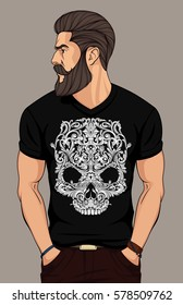 bearded man in black t shirt with floral skull