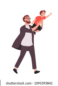 Bearded man carrying young boy. Smiling dad holding son. Joyful father playing with his little kid. Happy family. Cute cartoon characters isolated on white background. Colorful vector illustration