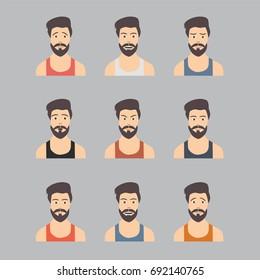 bearded man character fashion style people cartoon avatars set. Isolated vector illustration of diverse senior characters.
