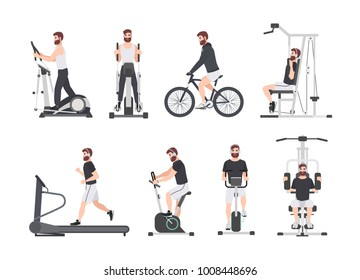 Bearded man dressed in sports clothes doing fitness training on exercise machines at gym. Male cartoon character during power and weight loss workout. Front and side views. Flat vector illustration.