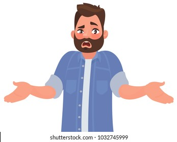 Bearded man emotionally spreads his hands. Question what's going on or why? Vector illustration in cartoon style