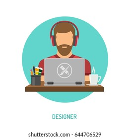 Bearded man freelancer designer in headphones working on laptop. Flat style icon. Isolated vector illustration