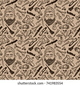 Bearded man. Hairdressing Supplies. Scissors, razor, comb. Seamless vector pattern (background).