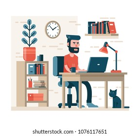 Bearded man with hipster hairdress works on laptop sitting on chair at the table. Around the simple interior - shelves, books, flower in a pot. Modern flat style.