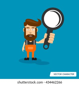 Bearded Man Hold a magnifying glass