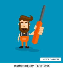 Bearded Man Hold Screwdriver