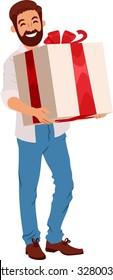 bearded man holding a huge gift box