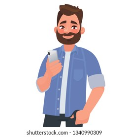 Bearded man holds smartphone in hands. People and gadgets. Using the application in the phone. Vector illustration in cartoon style