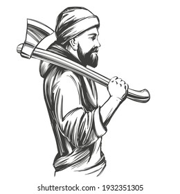A bearded man in a hoodie holds an axe on his shoulder hand drawn vector illustration sketch