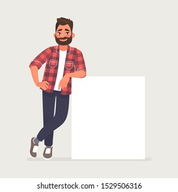 Bearded man is leaning on a blank poster. A place to post your advertisement or other information. Advertising. Vector illustration in cartoon style
