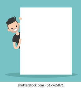 Bearded man peeping from behind a blank board mock up / Copy space. Your text here. Editable flat vector illustration, clip art