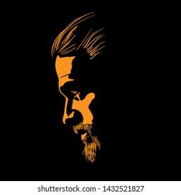 Bearded Man portrait silhouette in contrast backlight. Vector. Illustration.