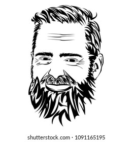 Bearded man portrait. Vector illustration in line art of a silhouette of a bearded man face