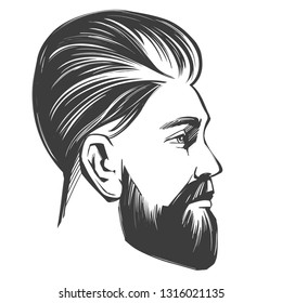 Bearded man in profile, barbershop, hairstyle, haircut, hand drawn vector illustration realistic sketch