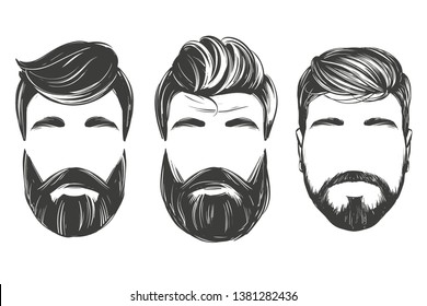 Bearded man in profile, barbershop, hairstyle, haircut, set hand drawn vector illustration realistic sketch
