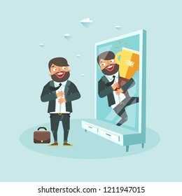Bearded man sees himself in front of mirror reflection with golden trophy champion cup. Man dreaming of becoming a champion in business, scholl, and life. Vector illustration