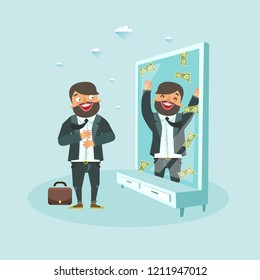 Bearded man sees himself as rich in front of mirror reflection. Businessman dream to be rich concept. Vector illustration