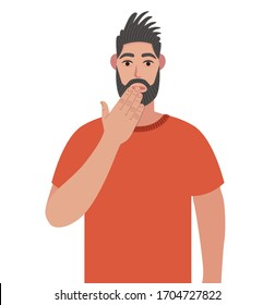 Bearded man shocked covering mouth with hand for mistake. Hipster expression of fear, scared in silence, secret concept. Vector illustration in cartoon style.