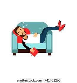 Bearded man sleeping on armchair with book, relaxing person cartoon vector illustration