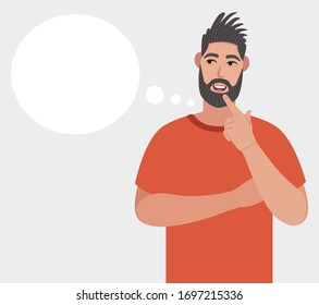 Bearded man thinking. Pondering on particular belief or idea, empty cloud bubble for text or image. Vector illustration in cartoon style.