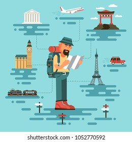 Bearded man in travel clothing, holds a map, surrounded by world monuments. Cartoon tourist in a flat style. On background plane, train and car.