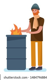 bearded man warming his hands by fire. homeless man standing near burning garbage in barrel homeless jobless concept. cartoon style vector illustration isolated on white background.