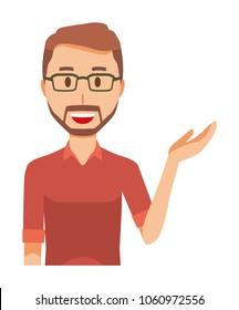 A bearded man wearing eyeglasses is informed