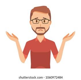 A bearded man wearing eyeglasses is shrugging his shoulders