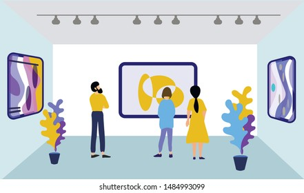 Bearded Man and Women at Paintings Exhibition in Modern Art Museum Hall. Cartoon People Visitor Characters Viewing Contemporary Pictures Hanging on Walls. Vector Flat Artworks or Exhibits Illustration
