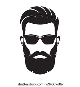 Bearded men face, hipster character. Fashion silhouette, avatar, emblem, icon, label. Vector illustration.