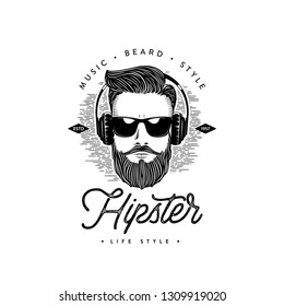 Bearded men face. Hipster. Hand drawn graphic portrait of bearded man with sunglasses. Vector illustration