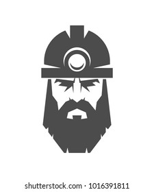 The bearded miner in a helmet logo. Collier icon