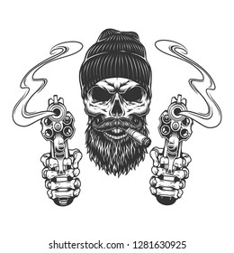 Bearded and mustached gangster skull in beanie hat smoking cigar and skeleton hands holding pistols isolated vector illustration