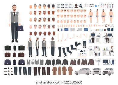 Bearded office worker, clerk or manager creation set or DIY kit. Bundle of male cartoon character body parts, clothes, faces isolated on white background. Colorful vector illustration in flat style.