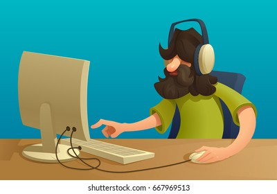 Bearded Programmer or manager with mustache working at computer. siting at the table