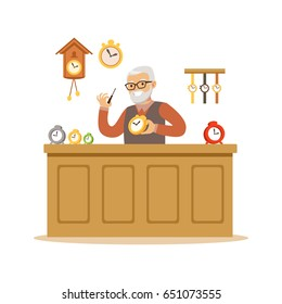 Bearded senior man repairing watches, watchmaker craft hobby or profession colorful character vector Illustration
